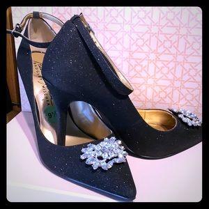 BM Black glitter heels.